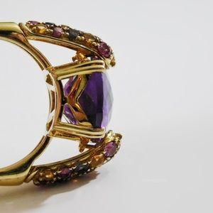 💥Clyde Duneier, Gold Emerald Cut Amethyst Ring